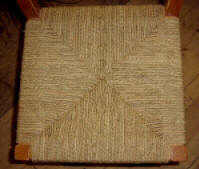 Rush-pattern seat worked in seagrass